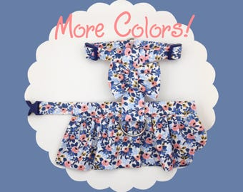 Rifle Paper Co. Periwinkle Blue Rosa & Bow Dog or Puppy Harness Dress