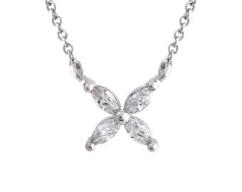 925 Sterling Silver Victoria style Marquise CZ flower Pendant Necklace