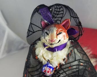 Witch cat art doll potions cat OOAK