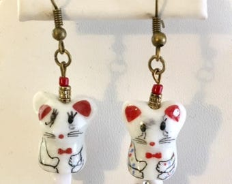 Cute Porcelain Mouse Earrings With Red Seed Beads