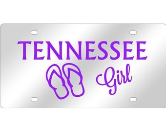 Tennessee Girl Flip Flops Mirrored Acrylic License Plate