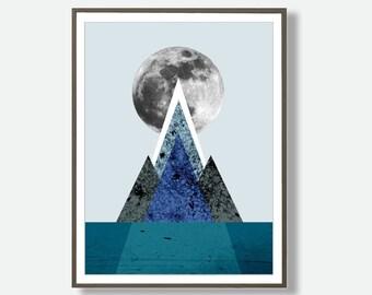 Moon Poster, Moon Wall Art, Mountain Wall Art, Mountain Print, Scandinavian Art,  Geometric Prints, Abstract Art,  Minimalist Art