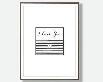 I Love You Print, Minimalist Wall Art, Minimalist Download, Love Print, Instant Typography, Bedroom Wall Art, Home Decor Prints, Black White