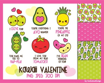 50% OFF, Valentine clipart, kawaii Valentine clipart, Valentine digital papers, vegeterian clip art, avocado clipart, beans, love clipart