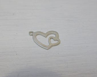 17 x 13 mm 925 sterling silver heart charm