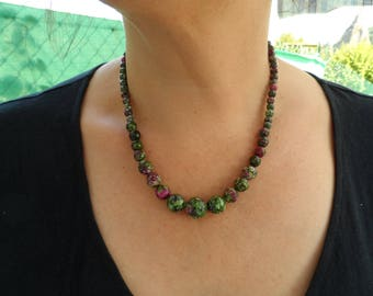 Ruby-Zoisite stone necklace