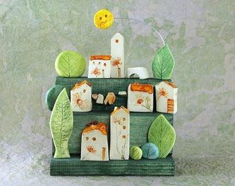 Village in pottery with floral decors,  houses in pottery with trees and bushesf, original village whit yellow sun, gift for marriage