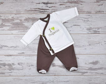 Organic Baby Set, Kimono & Rompers, Take Home Outfit, Baby Gift Set, Newborn Outfit, Hospital Outfit, Organic Cotton Baby Outfit