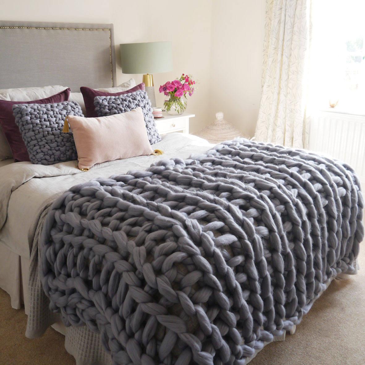 Grey Chunky Knit Blanket Giant Knit Blanket Chunky Knit