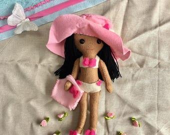 Felt Beach Doll, Handmade Beach Doll, Girls Doll, Beach Babe Handmade, Felt Doll, Gingermelon Pattern, CE certified