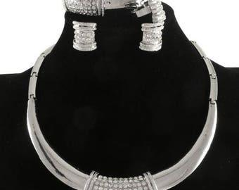 Silver Choker Necklace Set