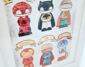 Superhero print personalised with child's name