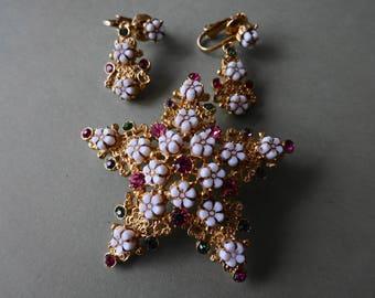 Vintage Florenza Rhinestone Star Brooch Pin Earring Set Lot 3 each