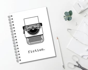 Fiction Typewriter Journal // Minimalist // Typography // Fashion // Scandinavian // Diary // Planner // Modern Office // Personalized