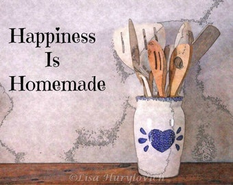 Happiness Is Homemade, sign, kitchen, wall art, wall decor, home decor, photograph, picture, country