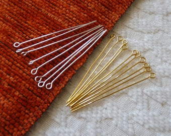 2 inch long Eye Pins, 50mm Eyepins, Gold Plated Eye Pins, Silver Plated Eye Pins for Beading, Head Pins, Beading Supplies