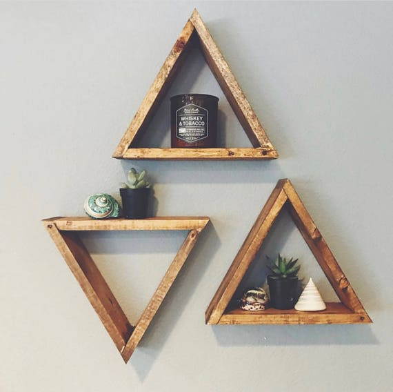 SET OF 3 Wood Triangle Shelf, Geometric Wall Shelf, Boho Wall Decor, Gray Triangle Shelf, Crystal Display, Succulent Wall Shelf Gallery Wall