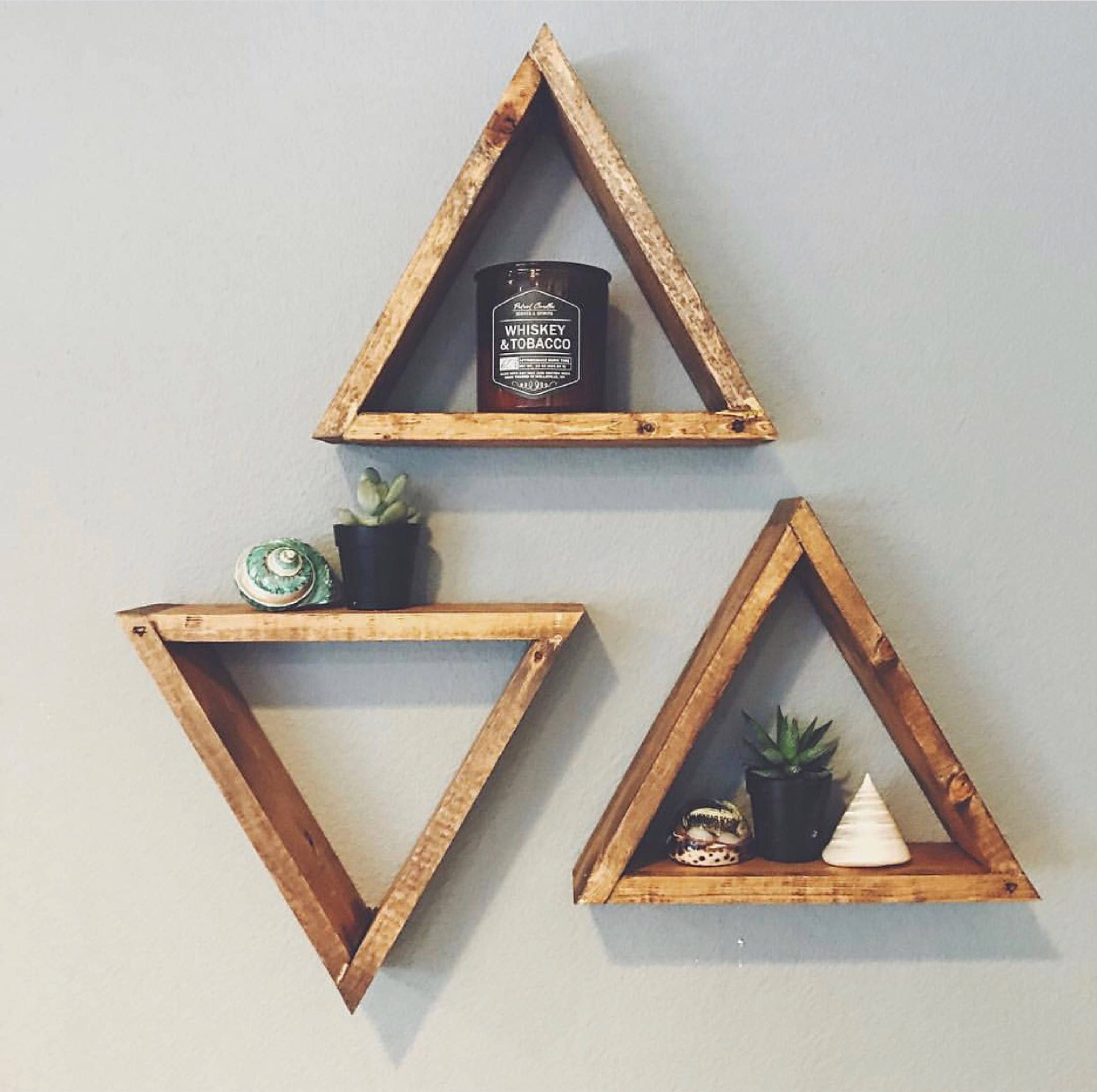 Set of 3 wood triangle shelf geometric wall shelf boho wall zoom amipublicfo Gallery