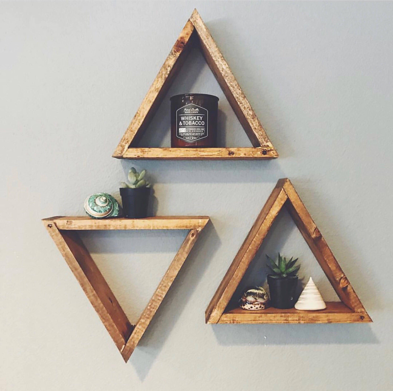 set of 3 wood triangle shelf geometric wall shelf boho wall. Black Bedroom Furniture Sets. Home Design Ideas