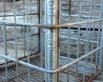 Holland Dairy Crate,metal crate, RARE Holland Metal Mik Crate
