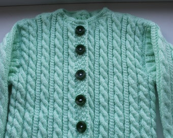 Hand knit cardigan Braided cardigan Baby outer wear Handknit jacket Autumn wrap jacket Mint green sweater Cabled cardigan Everyday jacket