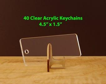 "40 Clear Keychain Blanks, Acrylic Blanks For Vinyl, 40 Clear Acrylic Keychains - Rectangle Clear Blank Keychains 4.5"" x 1.5"", Laser Cut KE13"
