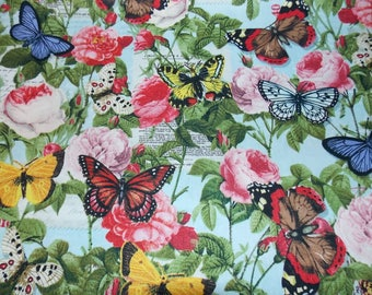 Butterfly Fabric Flower Fabric Springtime Fabric Dress Fabric Skirt Fabric Curtain Fabric Quilt Fabric Craft Fabric Cotton Fabric