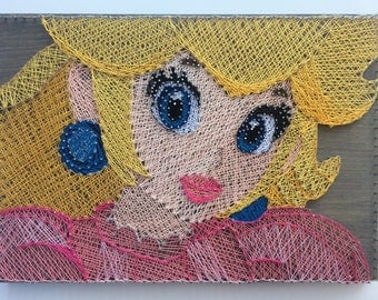 Handmade String Art - 16 by 11 inches - Princess Peach - Super Mario Brothers - Nintendo - Video Game - Wii - Grey stained wood -