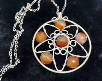 handmade artisan carnelian stone copper wire charm pendant necklace.