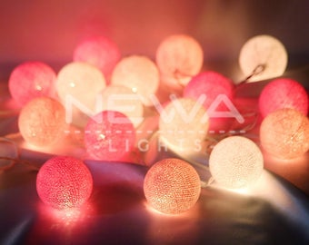 20 Pastel Pink Light Pink White Cotton Ball String Lights Fairy Lights Garland Christmas Lights Bedroom Nursery Baby Kids Wall Home Decor