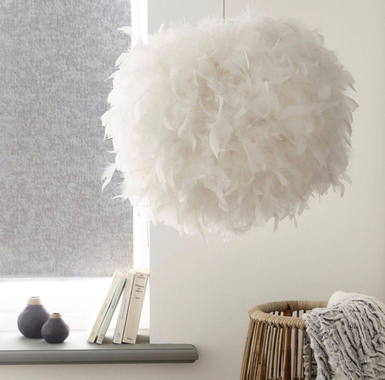 eclectic 15x15 white feather ceiling pendant light shade. Black Bedroom Furniture Sets. Home Design Ideas