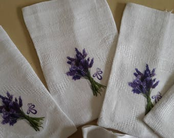 bags-set of 6 French antique linen to complete (gift or lavender) with transfer