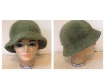 Anniversary Sale Vintage Fern Green Mohair Hat