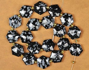 18 piece faceted Obsidian Fancy shape Hexagon  beads, 5 x 13 mm approx