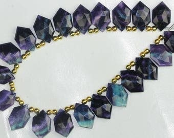 New Arrival; Awesome Colour Ellusion, 20 piece faceted FLUORITE Hexagon beads, 15 x 12 x 20 mm Approx
