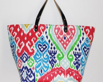 Cotton canvas and leather tote