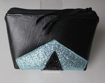 Wallet / card graphic in black imitation leather and glitter