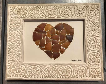 Brown Sea Glass Heart - Genuine Brown Sea Glass - Sea Glass Art