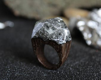The ring is made of bog oak, metallic shaving and acrylic. Resin tree ring, jewelry, exotic burl wood, Wooden jewelry