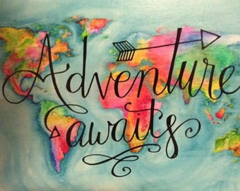 Adventure Awaits - watercolor world map