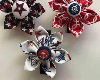 Dog/Cat/Pet Fabric Flower For Collar Patriotic Nautical Stars Red White Blue