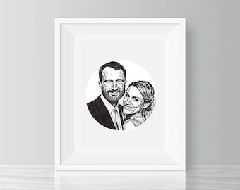 Custom couple portrait - personalized hand drawn illustration - wedding, anniversary, christmas, valentine's day gift