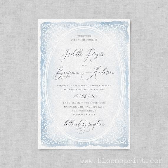 Watercolour wedding invitation pdf, Printable wedding invitation, Calligraphy wedding invitation, Wedding invite template, Blue, Pink, Grey