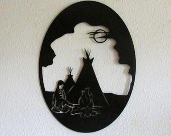 Native American, Indian, Metal Art, Southwestern, Western, Wall Hanging