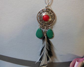 Red ethnic pendant & feather
