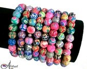 Hibiscus Bead Bracelet Set of 3, Polymer Clay Bead Bracelets, Bright Colorful Party Luau Spring Beach Summer Bracelets, Mothers Day Gifts