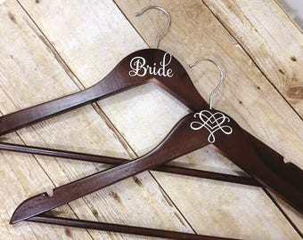 Set of 7 Wedding Hangers | Bridal Hanger Gift | Bridal Party Gift | Bridal Hanger | Custom Wedding Hanger | Bridesmaid Hanger