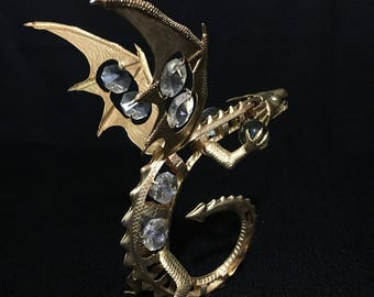 Vintage Brass Dragon With Crystal and Glass Marbles.   (TTT17)