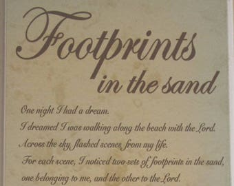 Plaque Footprints in The Sand Wall Plaque Sign One Night I had A Dream  SG1125SHELL