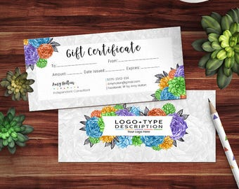 Rodan and Fields Gift Certificate, RF Gift Card, Rodan + Field Certificate for Independent Consultant, Succulents Collection